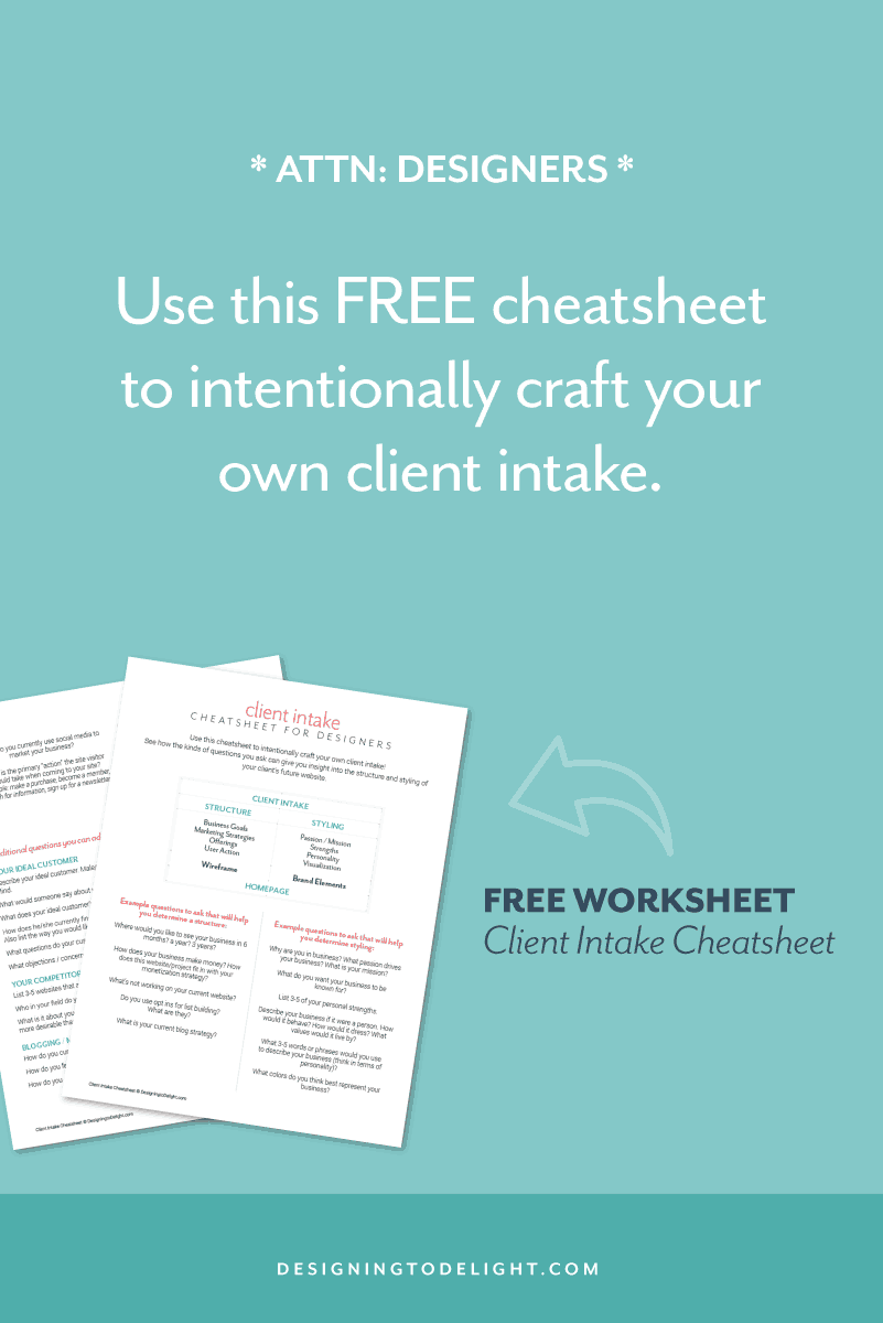 Clients nitpicking or unhappy with your design? You CAN simplify your design process down to one concept and one set of revisions. Designers and freelancers, read more about how I streamlined my own process. Your freelance graphic and web design projects can become the culmination of collaborative work with your client, rather than rounds of out of control revisions. Grab your free client intake / brand questionnaire cheatsheet. Click through for more designer resources!