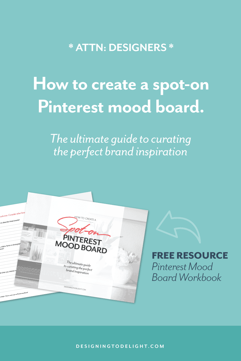 As a designer for over 25 years, I've honed my skills by observing, learning by replication, practice and listening to feedback. Use this same observation process and FREE WORKSHEET to help you create a spot-on Pinterest mood board. Click through for more designer resources!
